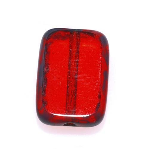 Beadaholique Czech Glass Table Cut Window Beads 8x12mm Rectangle - Ruby Red/Picasso ()
