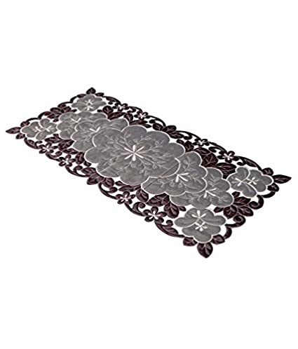 Kuber Industries Embroidered Cotton Table Runner - Brown