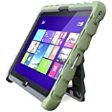 Gumdrop Cases Dell Venue 11 (7140) Hideaway with Stand Army - Green - Silicone - Rugged Shock Absorbing Protective Dual Layer Cover Case