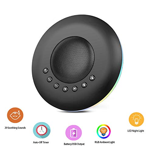 EliveBuy White Noise Machine, Night Light for Kids Adult with Memory/Timer Function and 20 Soothing Sounds, Sleeping Device Supports Battery or USB Output Charger, 1 Pack Black