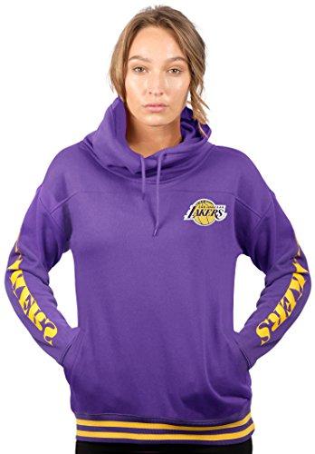 Los Angeles Lakers Team Fleece (NBA Women's Los Angeles Lakers Fleece Hoodie Pullover Sweatshirt Funnel Neck, Large, Purple)