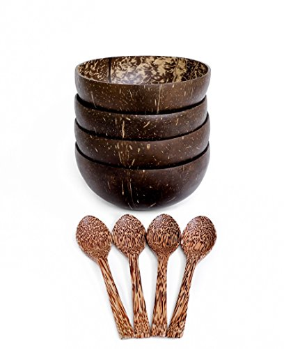 Love Coco Artisan Oops Coconut Bowls and Spoons (Set of 4) | 100% Vegan & Natural | Made From Real Coconuts | Polished With Coconut Oil | Eco-Friendly | Artisan (Coconut Palm Wood)