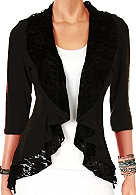 Funfash Plus Size Women Black Lace Cardigan Sweater Jacket Shrug Top Made in USA