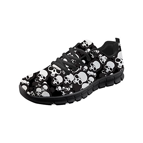 Nopersonality Sneakers for Women Fashionable Punk Skull Light Weight Casual Walking Shoes EU 35-43 White Skull 1aCt9FrP