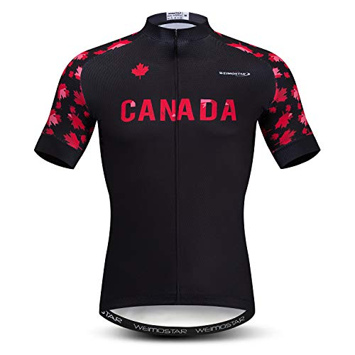 Weimostar Men's Cycling Jersey MTB Bicycle Clothing Bike Shirt Top Pockets Canada Black Red Size XL