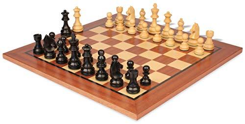 Set Chess German Knight (German Knight Staunton Chess Set Ebonized & Boxwood Pieces with Classic Mahogany Chess Board - 3.75