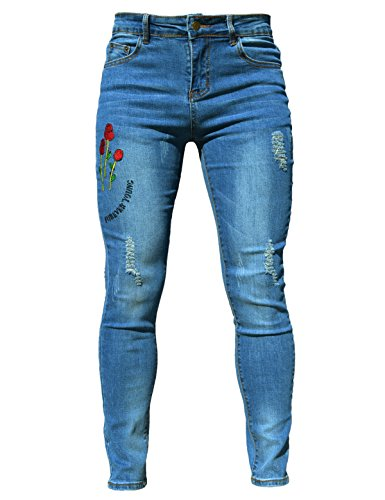 Skinny Size Ripped Fabric Women's Adjustable Jeans Light Sexy 20 PHOENISING Hole Trousers Thin 6 Blue 8AxqAZT