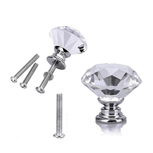 WOTOY Crystal Glass Cabinet Knobs 30mm Diamond Shape Drawer Cabinets Dresser Cupboard Wardrobe Pulls Handles 10 Pcs by WOTOY (Image #5)