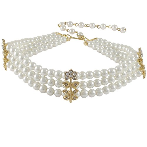 (Isaac Kieran Three Row Faux Pearls Pave Crystals Choker Necklace, 11