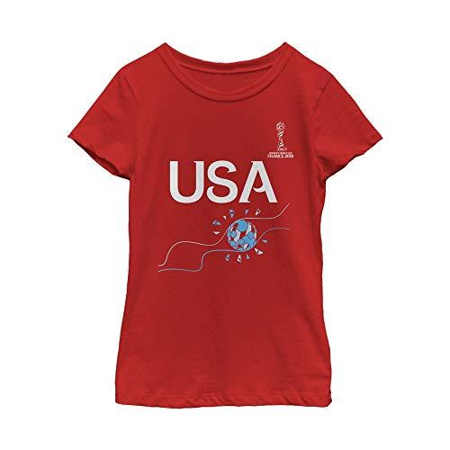 FIFA WWC France 2019 Football Flame Youth Girl's Tee Shirt, Red, Medium