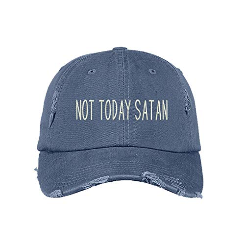 - Prfcto Lifestyle Not Today Satan Distressed Dad Hat- Baseball Cap- Unisex (Scotland Blue)