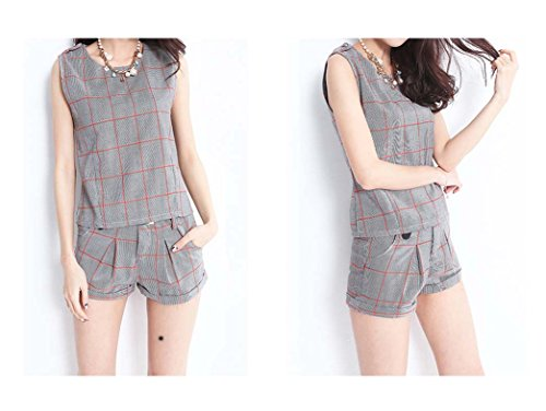 ARJOSA® Womens Plaid Sleeveless Fitted T-shirt Blouse and Shorts 2 Piece Set (M, #2 Grey) by ARJOSA (Image #1)