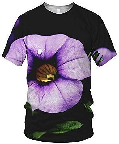Estampado Entero Flores Moradas Moda Camiseta De Mujer - sintético, Multicolor, 100% poliéster 100% poliéster, Mujer, Extra Grande, Multicolor: Amazon.es: Ropa y accesorios