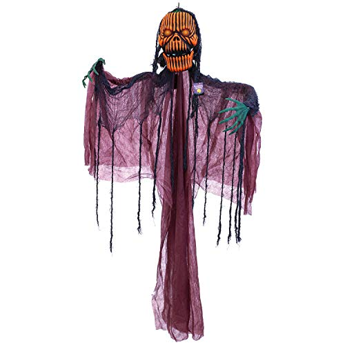 Halloween Haunters Animated Hanging 5 Foot Scary Orange Pumpkin Head Ghost Zombie Reaper Screaming Moving Jaw, Flashing Green LED Eyes Prop Decoration - Haunted House Graveyard Entryway Display ()