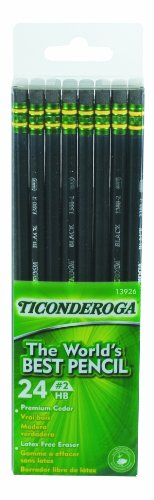 Dixon Ticonderoga Wood-Cased #2 Pencils, Box of 24, Black (13926)