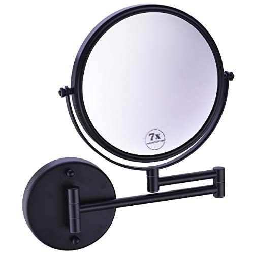 Black Swivel Mirror - Anpean Wall Mounted Makeup Mirror 7x Magnification with 8 Inch Double Sided Swivel, Matte Black