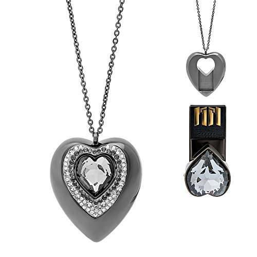 Swarovski Active Crystals 5064558 Silver Night Heart 8GB USB Pendant Necklace (Necklace Dog Swarovski Crystal)