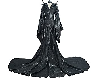 COSSTAR Anime Movie Maleficent Jolie Role Play Cosplay Custumes Full Set Halloween Costumes (XXL)