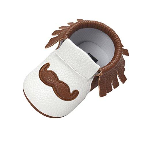 Babyschuhe Longra Baby weiche Quaste Brief weiche Sohle Kleinkinder PU Leder Schuhe Quaste Krabbelschuhe Lauflernschuhe für Mädchen und Jungen(0 ~ 18 Monate) Coffee