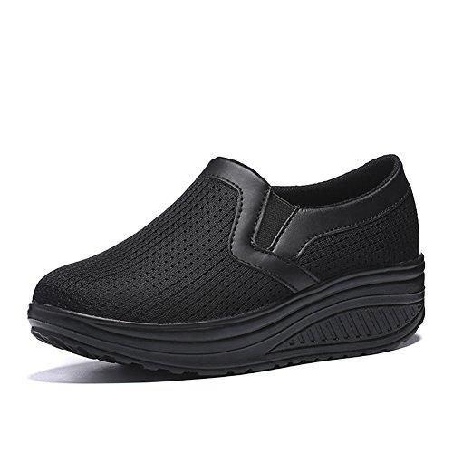 Black Wedge Shoes Walking Women Breathable Comfort Mesh Sneakers On Shoes Slip LOUBIT L EqRt77