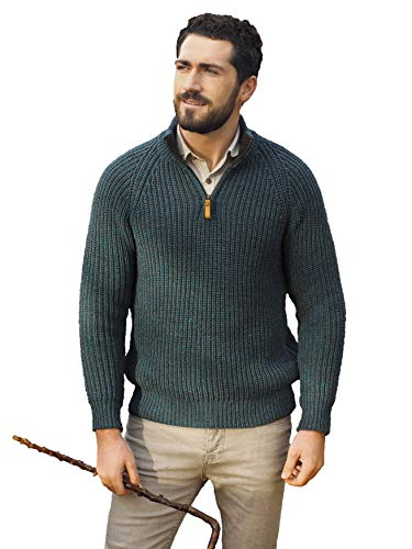 Aran Crafts Men's Celtic Irish Knit Ribbed Half Zipped Sweater (X761-MED-PCOK) from Aran Crafts Ireland
