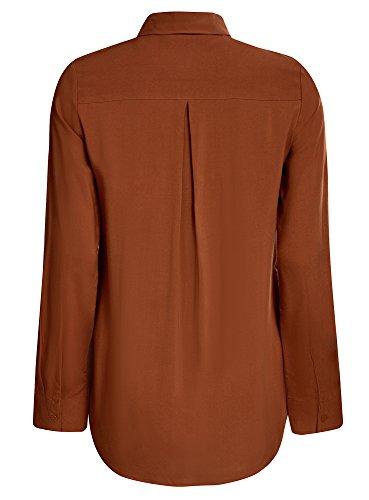 oodji Ultra Mujer Blusa Básica de Viscosa con Bolsillos Marrón (3900N)