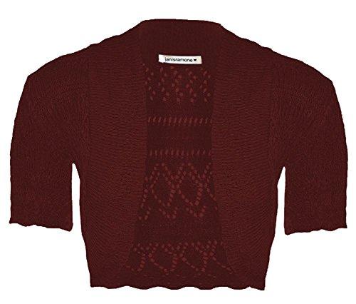 Cima Cardigan nuove Crop Shrug crochet a maglia Ragazze Vino manica corta Janisramone Bolero ZxPqFdAvqn