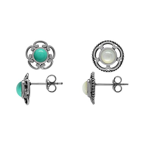 Earrings Pearl Of Mother Turquoise (2-Pair Set Created Green Turquoise & White Mother Of Pearl 925 Sterling Silver Flower Stud/Post Earrings)