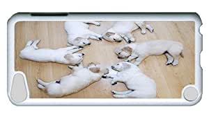 Rugged iPod Touch 5 Case, Circle Of Puppies Polycarbonate Plastic Case for iPod Touch 5 /iPod 5/ iPod 5th Generation PC White