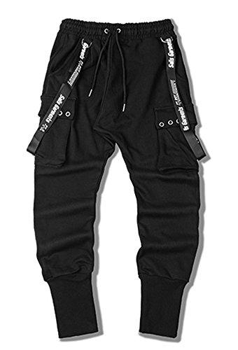 LifeHe Men Hip Hop joggers Harem Pants With Elastic Waist (Black, L) by LifeHe