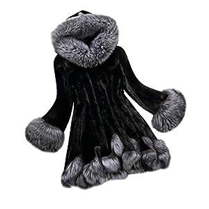 Gorgeous Coat,KIKOY Womens Long Section Of Faux Mink Fox With Cap Fur Jackets (6XL, Black z)