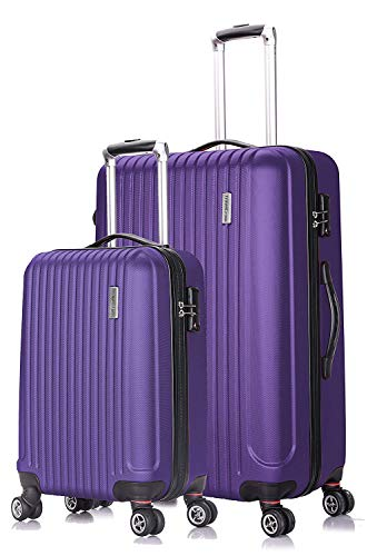 TravelCross Berkeley Classic Luggage Lightweight Spinner Set (Purple, 20''+28'')