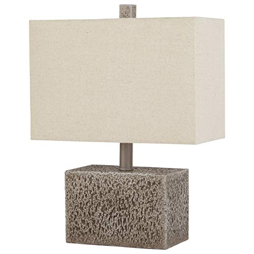 (Stone & Beam Modern Slate Rock Table Desk Lamp With Light Bulb And White Shade - 11.5 x 7 x 16 Inches, Polished Nickel)