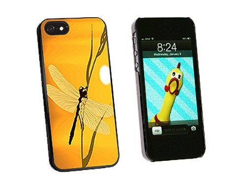 Graphics and More Dragonfly Dragon Fly Yellow Snap-On Hard Protective Case for iPhone 5/5s - Non-Retail Packaging - Black