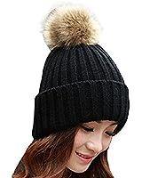 femmes chapeau - TOOGOO(R)les femmes hiver fourrure de lapin balle chapeau chaud crochet de bonnet de laine tricote(Noir)