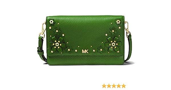596178d1780b MICHAEL MICHAEL KORS Mercer Floral Embellished Pebbled Leather Smartphone  Crossbody (True Green): Handbags: Amazon.com