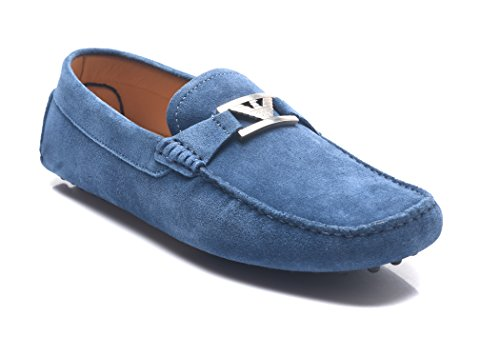 Emporio Armani Men's Suede Driving Shoes Blue