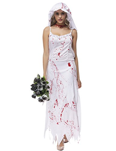 White Ghost Costume Lady (Colorful House Womens Ghost Bride Fancy Dress Zombie Halloween Costume (White, Size)