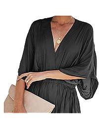 JESPER Women Office Ladies Solid Loose Batwing Sleeve V-Neck Shirt Top Waist Peplum Blouse