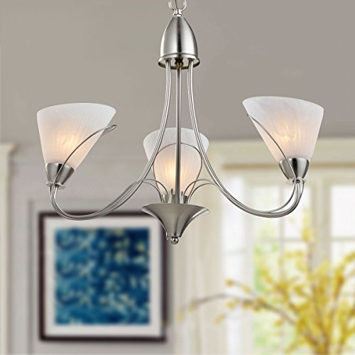 3-Light Silver Iron Modern Chandelier with Glass Shades (E-HKP31262-3) ()