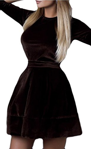 Coolred-femmes Solide Velours Or Maigre Cou Cocktail Ronde Café Robe Midi