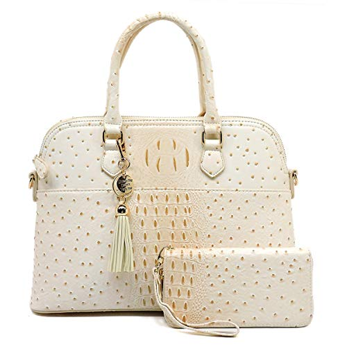Beige Ostrich - Vegan Faux Leather Ostrich Croco 2-in-1 Dome Shape Satchel Purse with Matching Wallet (Beige)