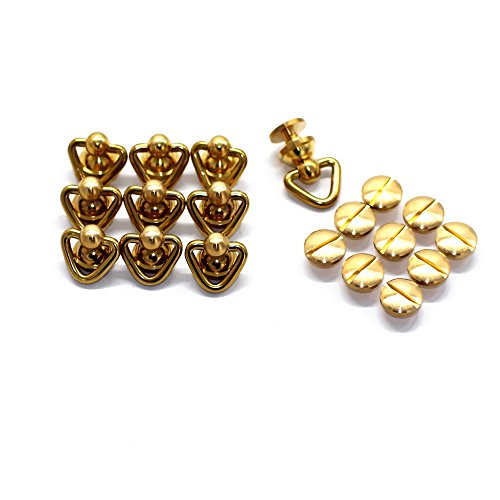 M-W 10 Sets Solid Brass Triangle-Type Connector Accessories For Key Ring Key Holder Key Chain Wallet (Solid Brass Key)