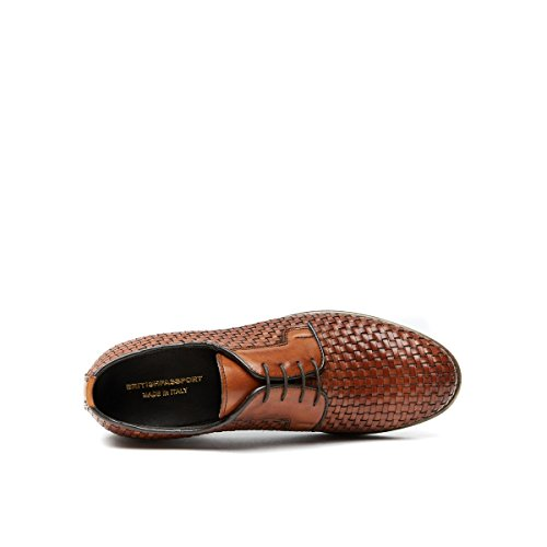 Scarpa Stringata Derby con Decorazione Plain di Colore Marrone. Plain Derby Brown. Uomo.
