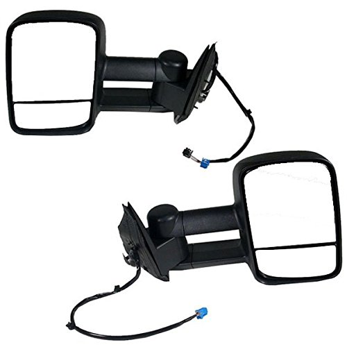 2003-2004-2005-2006-2007 Chevy/GMC Silverado/Sierra 1500 2500 3500 Pickup Truck Upgrade Power Heated Towing Mirrors Pair Set Left Driver Side and Right Passenger Side (03 04 05 06 07) (Truck Mirror Set Power)
