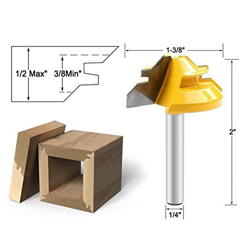 FidgetFidget Mill Cutter Tool Pro 45Degree Lock Miter Router Bit 1/4Inch Shank Woodwork Tenon
