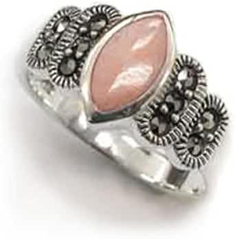 Sterling Silver Marquise Pink Shell Mother of Pearl and Marcasite Ring(Sizes 6,7,8,9)