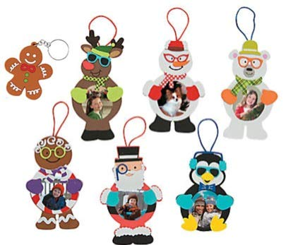 Silly Christmas Character Foam Picture Frame Ornament Craft Kit with Bonus Christmas Cookie Keychain Nikki' s Knick Knacks