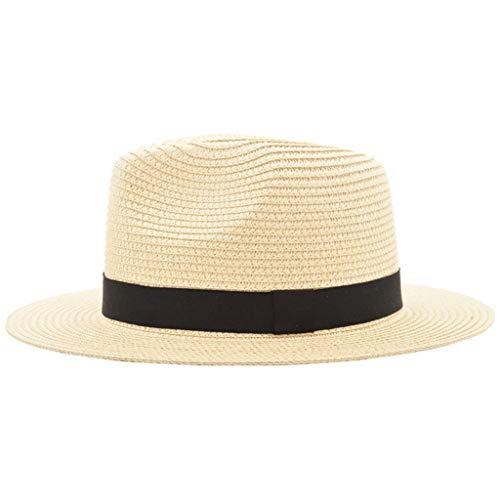 - iCJJL Unisex Summer Straw Hat, Flodable Panama Trilby Fedora Beach Jazz Sunshade Hat Gangster Cap Beige
