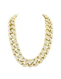 "Heavy Gold Finish Mens Classy Iced Lab Diamond 400+ Grams Hot Cuban Necklace 38"""